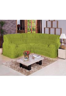 Capa De Sofá De Canto Dodigo Tecido Malha Gel 01 Peça Verde Borda Bordados Enxovais