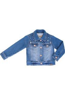 Jaqueta Jeans 1+1 Moletinho Bordado Bebê - Feminino-Azul