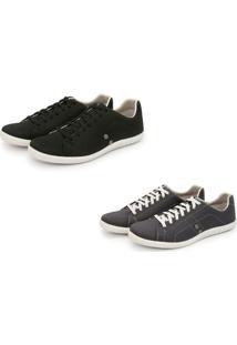 Kit 2 Pares De Sapatênis Casual Trivalle Shoes Preto