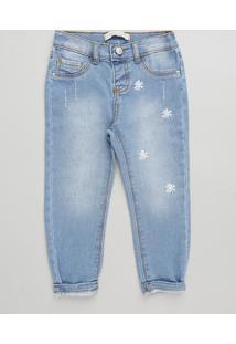 Calça Jeans Infantil Bordado De Margaridas Azul Claro