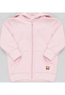 Blusão Infantil Básico Em Moletom Felpado Com Capuz Rosa