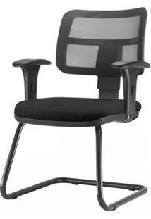 Cadeira Zip Tela Com Bracos Assento Courino Base Fixa Preta - 54425 Sun House