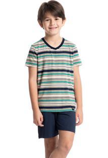 Pijama Infantil Masculino Curto Listrado Luiz