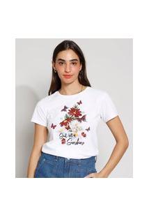 """Camiseta Feminina Manga Curta """"Soul Full Of Sunshine"""" Decote Redondo Off White"""