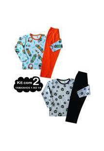 Kit 2 Pijama 1 Ao 14 Infantil Juvenil Menino Algodáo Inverno Multicolorido