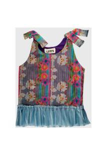 Vestido Infantil Ummi Ovelhas Com Babadinho De Tule Em Crepe Azul