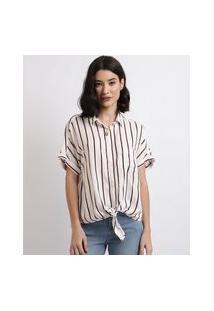 Camisa Feminina Listrada Com Bolso E Nó Manga Curta Branca