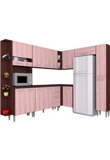 Cozinha Compacta 8 Peças Karina - Poquema - Capuccino / Amendoa