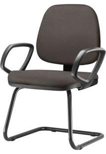 Cadeira Job Com Bracos Fixos Assento Courino Cinza Escuro Base Fixa Preta - 54548 Sun House