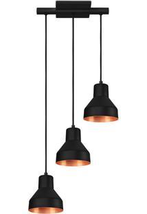 Pendente Viena Triplo Preto/Cobre - Pd130/3Pt_Co - Kin Light - Kin Light