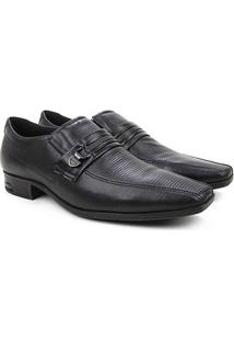 Sapato Social Couro Pegada Textura Masculino - Masculino-Preto
