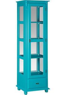 Cristaleira 1 Gaveta Com Espelho E Vidro Lateral Azul