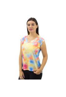 Camiseta Feminina Estampa Tie Dye Dora Bella Amarela