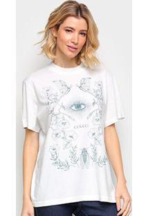 Camiseta Colcci Estampada Feminina - Feminino-Branco+Azul