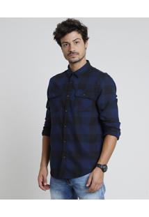 Camisa Masculina Tradicional Em Flanela Estampada Xadrez Com Bolsos Manga Longa Azul
