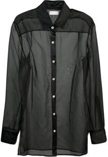 Dresshirt Transparent Silk Tunic - Preto