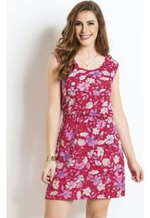 Vestido Floral Com Elástico Na Cintura