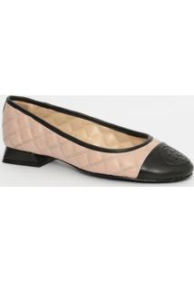 Sapato Em Couro Matelassê- Bege & Preto- Salto: 2Cmcapodarte