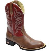 Bota Texana Masculina Country Bico Redondo Escrete Em Couro - Masculino -Vermelho 3bb8dcc5cf3