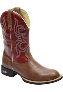 Bota Texana Masculina Country Bico Redondo Escrete Em Couro Masculino Vermelho
