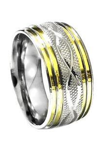 Aliança De Aço C/ Filete De Ouro (Unidade)-12 - Unissex-Prata