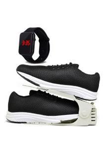 Kit Tênis Esportivo Caminhada Com Organizador E Relógio Led Dubuy 1108Db Preto