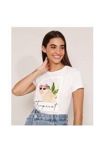 """Camiseta De Algodão Gato Com Óculos """"Tropicat"""" Manga Curta Decote Redondo Branca"""