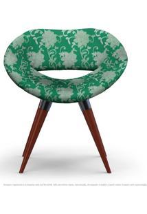 Poltrona Beijo Floral Verde Cadeira Decorativa Com Base Fixa