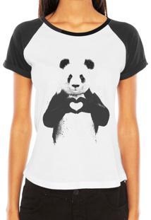 Camiseta Raglan Criativa Urbana Panda Coração Love