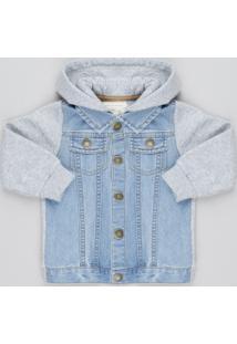 Jaqueta Jeans Infantil Com Capuz E Moletom Azul Claro