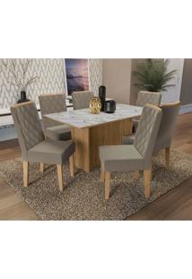 Conjunto De Mesa De Jantar Com Tampo De Vidro E 6 Cadeiras Cidra Suede Mesclado E Freijó