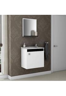 Conjunto Para Banheiro Siena Móveis Bechara Branco / Preto