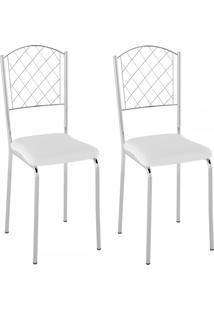 Cadeiras Kit 2 Cadeiras Pc18 Vinil Branco/Cromado - Pozza