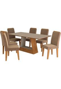 Conjunto De 6 Cadeiras Para Sala De Jantar 180X90 C/Moldura Alana/Milena-Cimol - Savana / Off White / Pluma