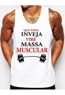 Camiseta Regata Criativa Urbana Frases Massa Muscular Academia - Masculino-Branco