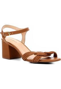 7d803abb2 Sandália Shoestock Salto Bloco Tranças Feminina - Feminino-Amadeirado