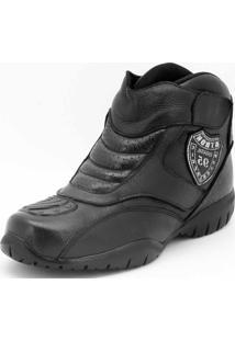 Bota Motoqueiro Cano Curto Em Couro Atron Shoes Preta
