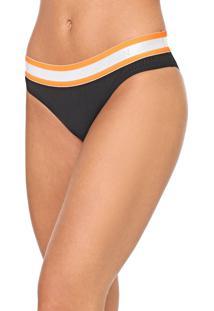 Calcinha Calvin Klein Underwear Tanga Canelada Preta/Laranja