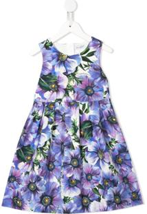 Dolce & Gabbana Kids Vestido Anemone Com Estampa - Roxo