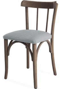 Cadeira De Madeira Moderna Estofada Justine - Stain Nogueira - Tec.915 Cinza Claro - 43X47,5X78,5 Cm