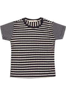 Camiseta Reserva Mini Menina Listrado Preta