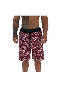 Bermuda Masculina Alto Conceito Moletom Limitado Mosaico Vermelho