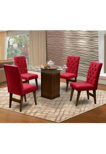 Mesa Para Sala De Jantar Saint Louis Com 4 Cadeiras – Dobuê Movelaria - Castanho / Vinho