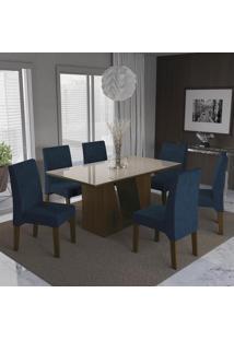 Sala De Jantar Kappesberg Romã 6 Cadeiras Walnut E Azul Marinho
