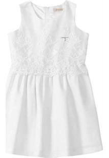 Vestido Branco Crepe & Tule Bordado Carinhoso