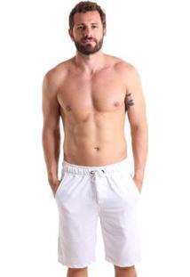 Bermuda Líquido Moletinho Masculina - Masculino-Branco