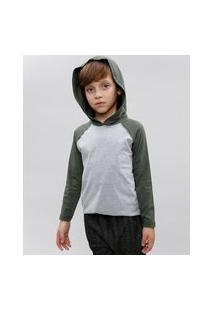 Camiseta Infantil Básica Raglan Com Capuz Manga Longa Gola Careca Cinza Mescla Claro