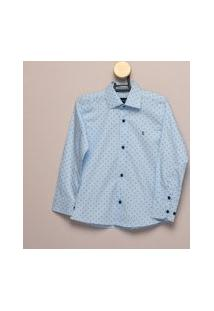 Camisa Social Teodoro Ml Infantil Algodão Estampada Casual Azul 8 Azul