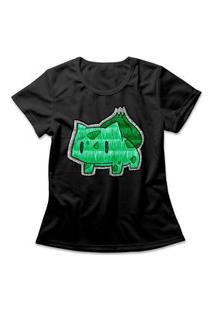 Camiseta Feminina Bulbasaur Preto