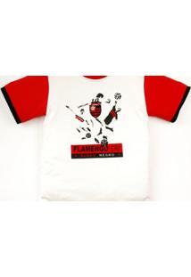 Camiseta Manga Curta Reve D'Or Sport Jogadores Flamengo Branca, Vermelha E Preta